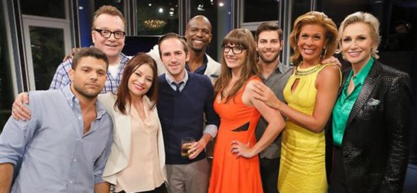 David Ferrara, Tom Arnold, Emilie de Ravin, contestant Chris, Terry Crews, contestant Amber, David Giuntoli, Hoda Kotb, Jane Lynch