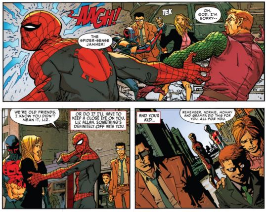 Norman Osborn's gotta slip so he'll keep tormenting Spidey. Panels edited from the issue.