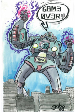Watercolor Killer Robot by Gabo